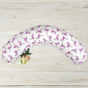 "Подушка для беременных ""AmaroBaby"" 25*170 см. (файбер, бязь) Фламинго"