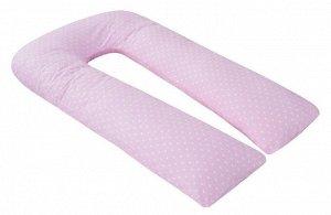 """Подушка для беременных """"AmaroBaby"""" U-образная,340*35 см. (файбер, бязь) сердечки розовые"""