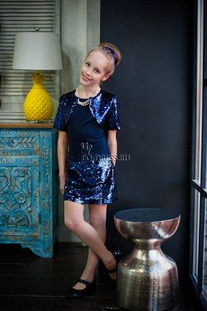 Платье На фото девочка ростом около 140см, платье размер 36 ***Замеры платья и болеро: р.30-ОГ 32х2, ОТ 29х2, длина изделия от плеча 58 см,  Болеро плечи 30 см, длина 25 см  р.32-ОГ 34х2, ОТ 30х2, дли