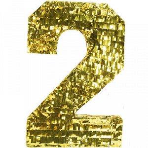 Пиньята Цифра 2 Золото