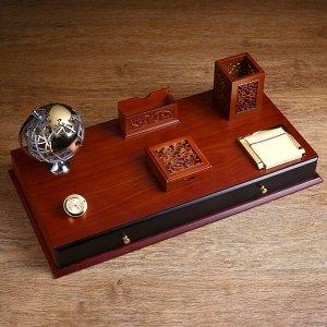 Набор настольный 7в1 (блок для бумаг-2шт,часы, подстав. д/визитниц,карандаш-ца.,глобус,ящик)