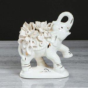"""Сувенир-статуэтка """"Слон индийский"""". белый. лепка. 17.5 см. микс"""