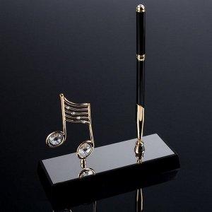 "Сувенир Ручка на подставке ""Нота"", с 2-мя прозрачными хрусталиками  16х6х20 см"
