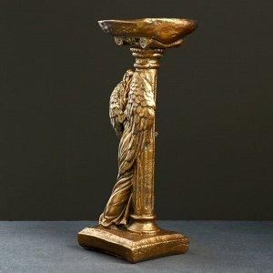 "Фигура ""Ангел девушка у колонны"" бронза 18х23х42см"