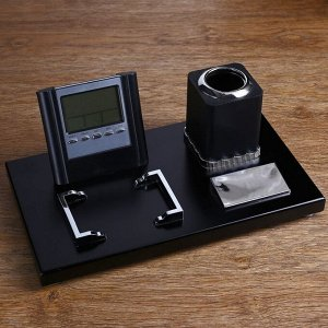 Набор настольный 4в1 (визитница, карандашница,лого,часы с подставкой) 17*30см