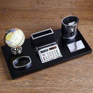 Набор настольный 6в1 (глобус PVC, визитница, лого, калькулятор,карандашница,скреп.)18*38 см