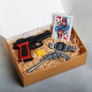 Набор «Лихие 90-е»: ручка, пистолет, карты, часы электронны