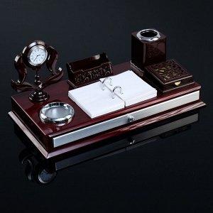 Набор настольный 7в1 (часы в резн.канте,подст, п/визитки,подставка,бумага,держат-ь)20х39х19 с