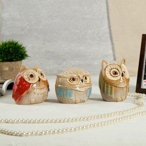 "Сувенир керамика копилка ""Совушки"" шамот глянец набор 3 шт 10х8х10 см"