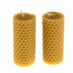 Набор свечей из вощины медовая 8 см, 2 шт