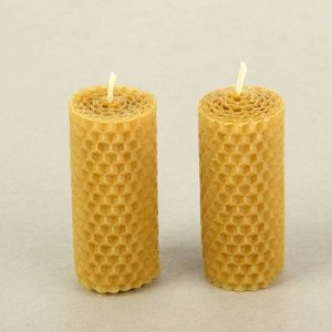 """Набор свечей из вощины медовая с добавлением эфирного масла """"Лаванда"""" 8 см, 2 шт"""