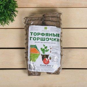 Торфяной горшок, 100 мл, 6 ? 6 см, набор 20 шт., «Умный город»