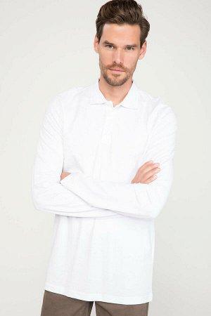 Футболка-поло белая с длинным рукавом