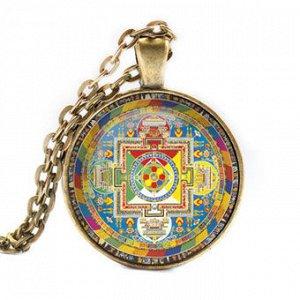 ALK026 Кулон с цепочкой Ваджрапани мандала, цвет бронз.