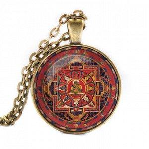 ALK027 Кулон с цепочкой Тара мандала, цвет бронз.