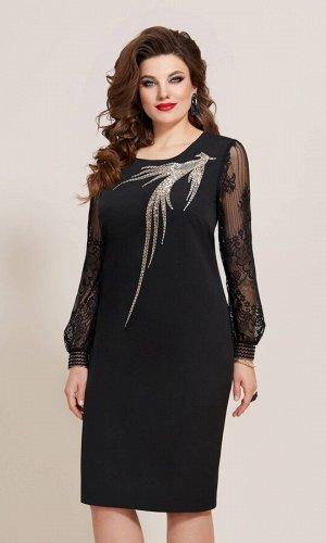 Платье Платье Vittoria Queen 10393/1 черный  Состав ткани: ПЭ-90%; Спандекс-10%;  Рост: 164 см.  Сверкайте! Сверкайте! От вашего ослепительного образа не оторвать глаз. Вышивка пайетками и с пришивны