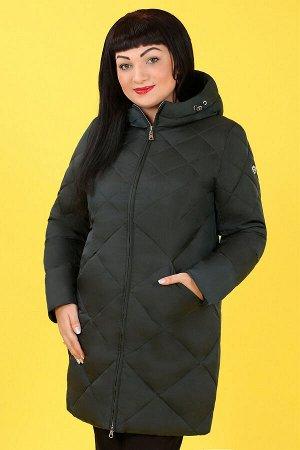 0У53 Т5585 Пальто зимнее с капюшономтемно-бирюзовый