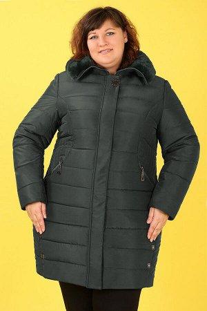 Пальто зимнее с капюшоном с мехомтемно-зеленый