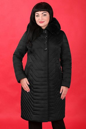 Черный Внимание: меховая отделка воротника съемная. Примечание: замеры длин соответствуют размеру 52. Длина пальто: 104 см. Длина рукава: 65 см. Подкладка: есть, синтепон. Застежка: молния спереди, кн