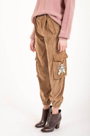 Брюки Pantalone cargo in velluto con patch. В цене таможня.