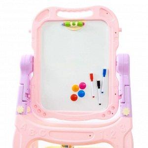 Игровой набор «Доска для рисования», с маркерами, мелками, магнитами, губкой, цвет розовый