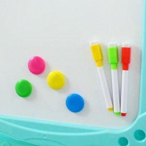 Игровой набор «Доска для рисования», с маркерами, мелками, магнитами, губкой, цвет голубой