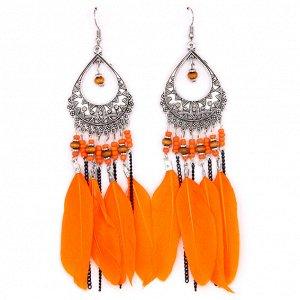 SE040-2 Оранжевые серьги с перьями 12см