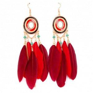 SE096-1 Красно-бордовые серьги с перьями 11см