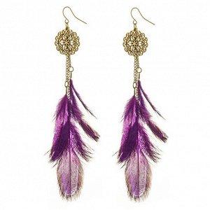 SE097-1 Фиолетовые серьги с перьями 11см