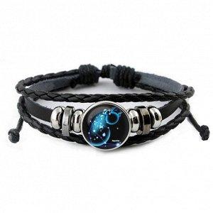 BS261-01 Светящийся кожаный браслет Знаки Зодиака - Водолей