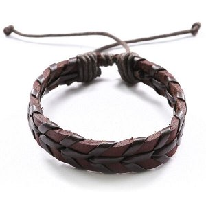 BS328-1 Кожаный браслет, ширина 10 мм, регулируемая длина, цвет: коричневый
