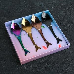 Набор ложек чайных «Дельфины», 13 см, 4 шт