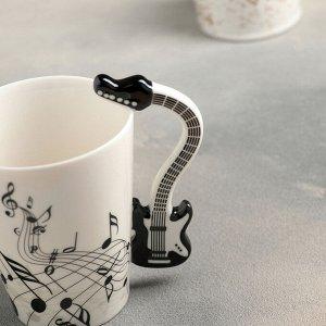 """Кружка 350 мл """"Инструменты. Гитара"""", цвет чёрный"""