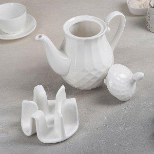 Чайник заварочный 1 л «Чайхана», на керамической подставке, цвет белый
