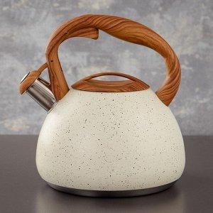 Чайник со свистком Stone, 2,7 л, ручка soft-touch, индукция, цвет бежевый