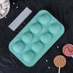 Форма для леденцов и мороженого «Чупик», 19,5?11,7?3,5 см, 8 ячеек (d=3,9 см), 2 части, с палочками, цвет МИКС