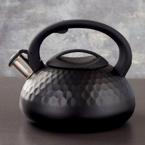 Чайник со свистком Magistro, 3 л, индукция, ручка soft-touch, цвет чёрный