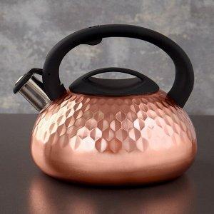Чайник со свистком Magistro, 3 л, индукция, ручка soft-touch, цвет бронзовый