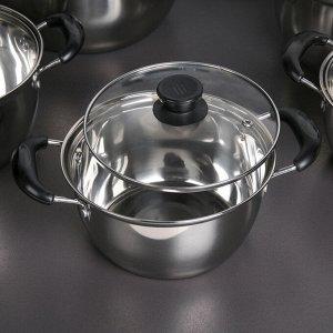 Набор посуды 5 шт: кастрюли 1,5 л (d=18 см), 1,8 л (d=20 см), 2 л (d=22 см), 2,5 л (d=24 см), 3,5 л (d=26 см), стеклянные крышки