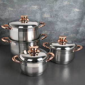 Набор посуды «Голден» 4 шт: кастрюли 2/3/5/6 литров, капсульное дно, индукция