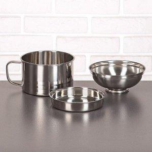 Набор посуды «Турист» 3 шт: кружка 1,35 л, миска 650 мл, тарелка 300 мл