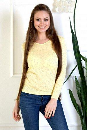 Лонгслив Лонгслив женский (вырез клин). Цвет: березка желтый. Лонгслив - один из самых удобных, популярных и незаменимых моделей одежды круглый год. Данная модель исполнена с вырезом горловины клин. Б