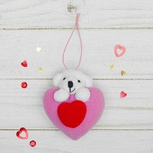 Подвеска «Мишка», двойное сердце, цвета МИКС