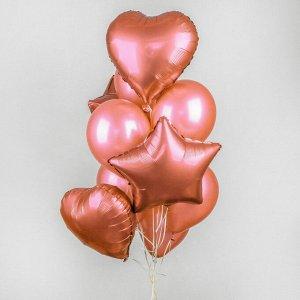 Букет из шаров «Хром», фольга, латекс, набор 14 шт., цвет розовое золото