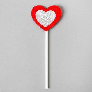 Топпер «Сердце», набор 6 шт., серебряное в красном