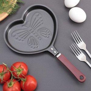 Сковорода «Сердце с бабочкой», 17 см, антипригарное покрытие