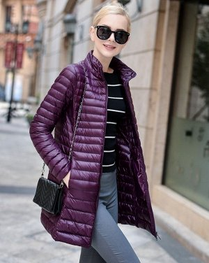 Женская удлиненная ультралегкая куртка, цвет темно-фиолетовый