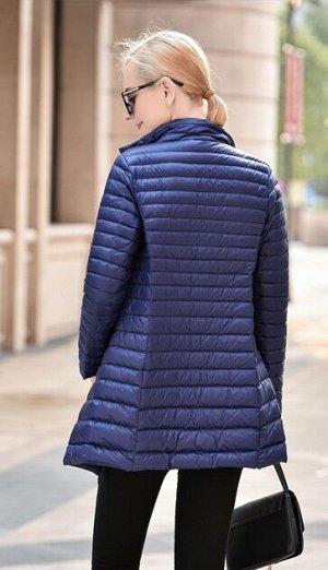 Женская удлиненная ультралегкая куртка, цвет темно-синий