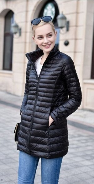 Женская удлиненная ультралегкая куртка, цвет черный