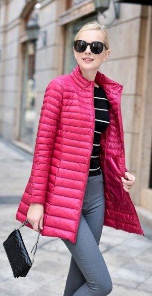 Женская удлиненная ультралегкая куртка, цвет красная роза
